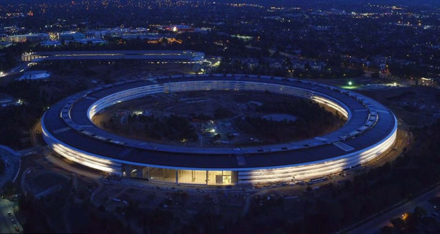 Apple's spaceship at sunset
