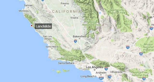 California's massive Highway 1 Landslide map