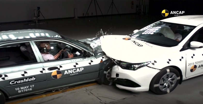 Car crash test on 20 year different models