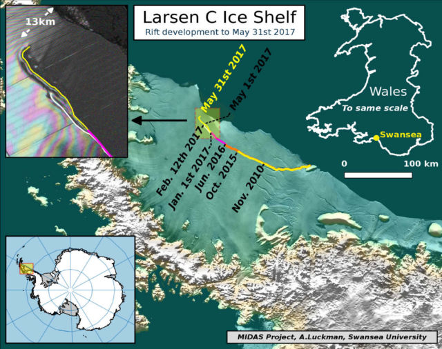 One of the largest Icebergs ever recorded is breaking off, map