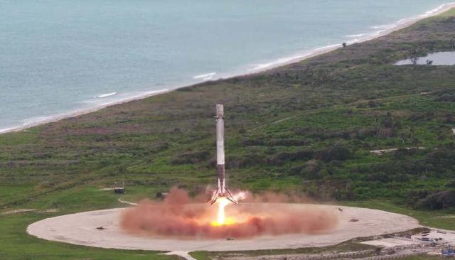 The precise landing of a Falcon 9 reusable rocket