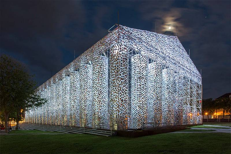 A Full-Size Parthenon built with 100,000 Banned Books