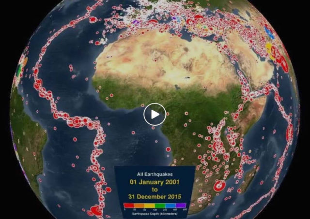 Earthquakes on Earth - 2001-2015