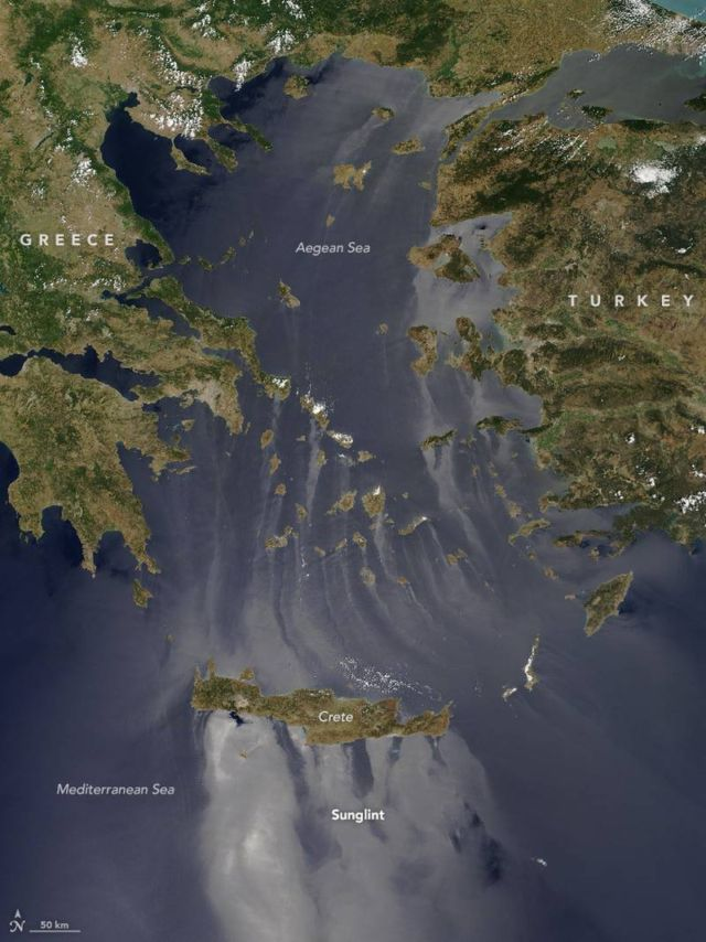 Sunglint on the Aegean and Mediterranean