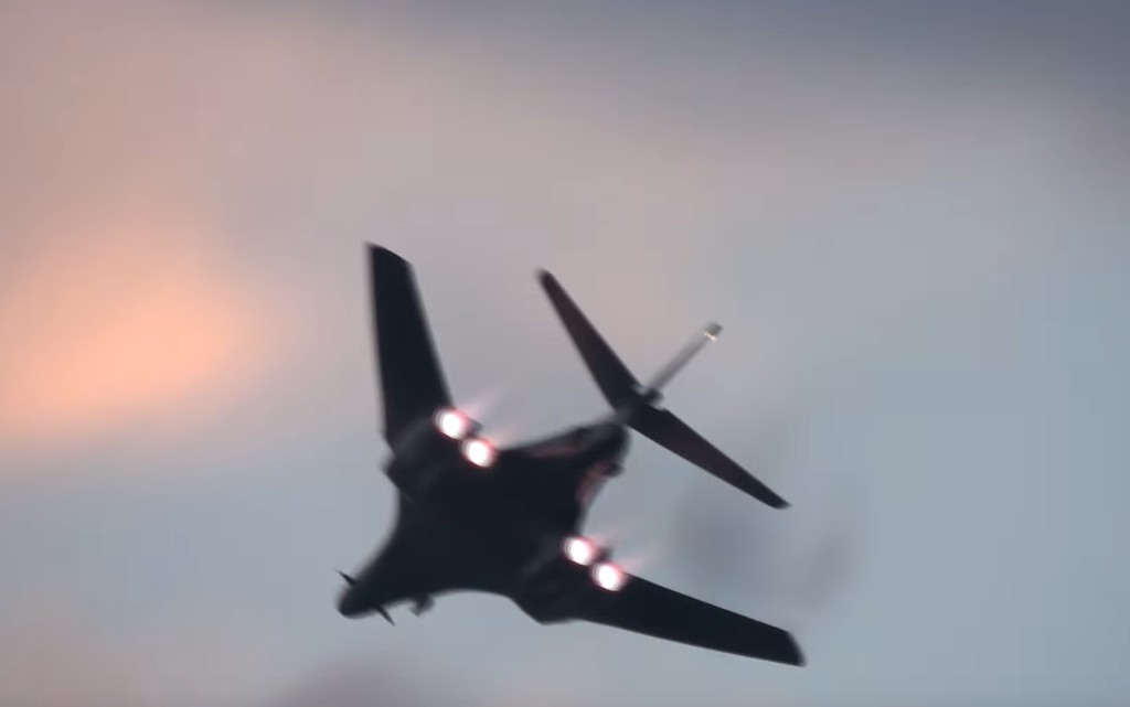 B-1 Bomber performing a High-Speed Flyby