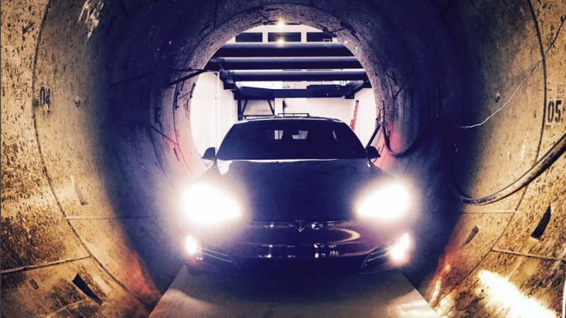 A Model S in a Tunnel under Los Angeles