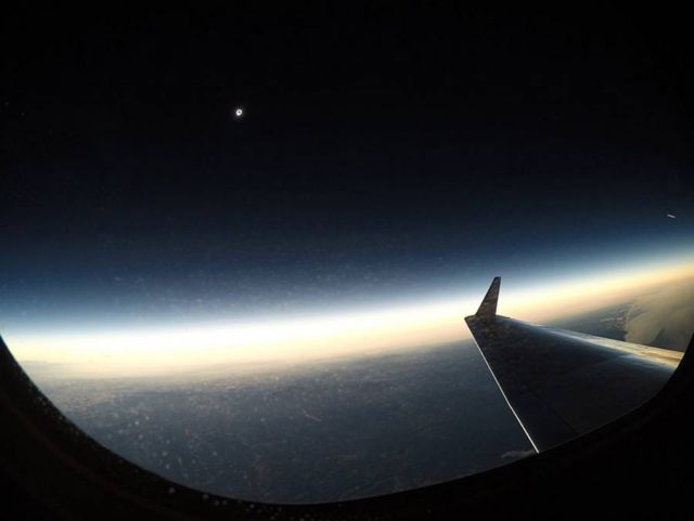 Total eclipse viewed from NASA's Gulfstream III aircraft