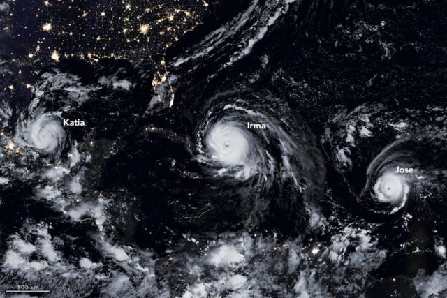 A Menacing Line of 3 Hurricanes