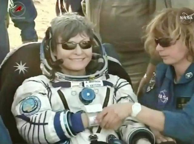 astronaut Peggy Whitson has a total of 665 days in space