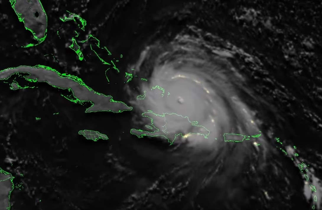 Lightning near Irma's Eye from space