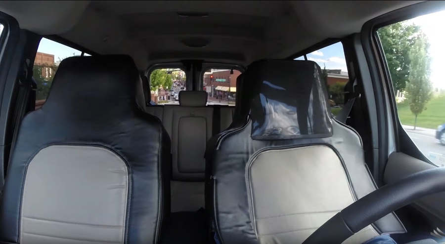 Man Dresses as a Car Seat for Self-Driving testing
