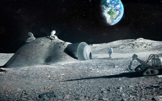 Artist impression showing a lunar base made with 3D printing