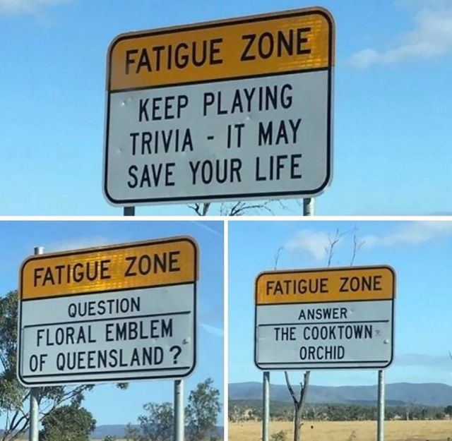 Trivia Signs to keep Drivers Awake