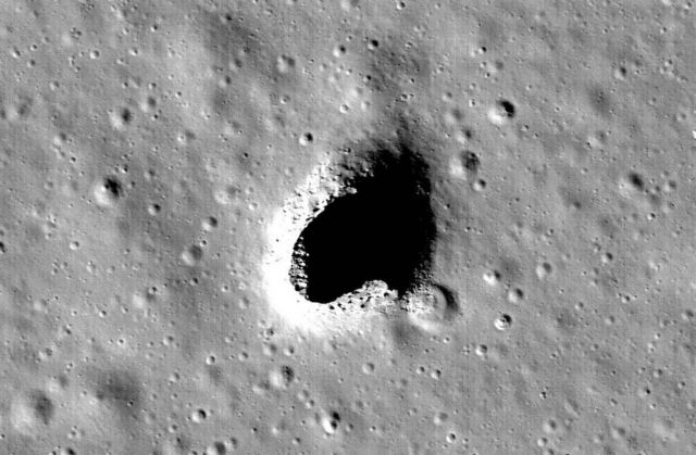 A huge open Lava Tube in the Marius Hills region on the Moon