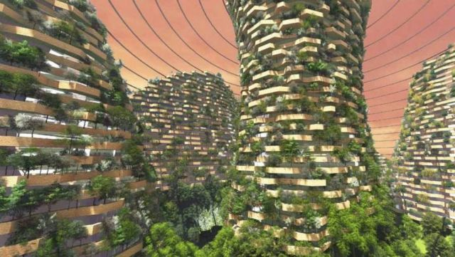 Domed Mars colony with Vertical Forests