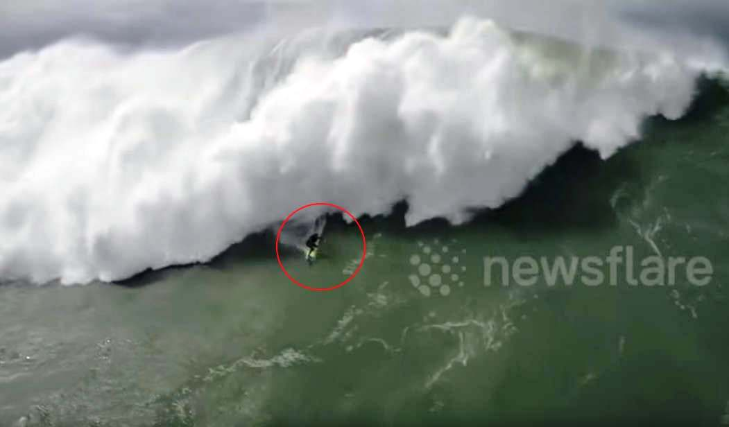 Giant Wave Surfing and dramatic Rescue from Drone