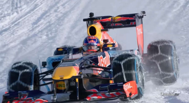 Running F1 Car Through Snow