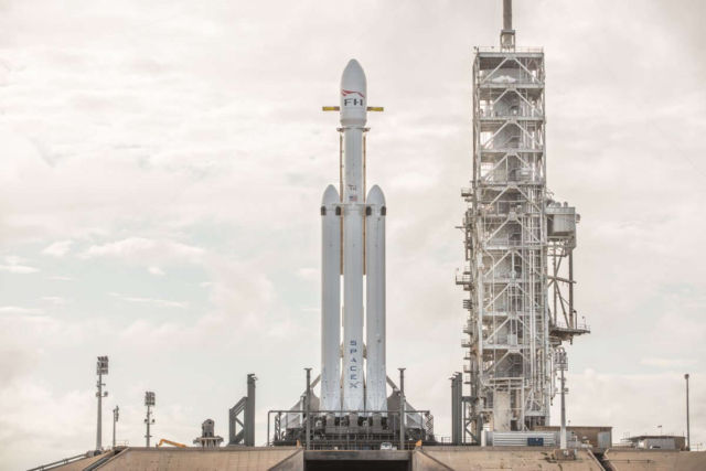 Falcon Heavy on the launch pad - video
