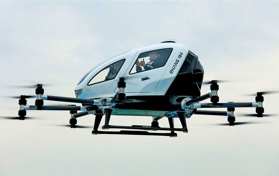 EHang 184 Autonomous passenger Drone made a series of flight tests