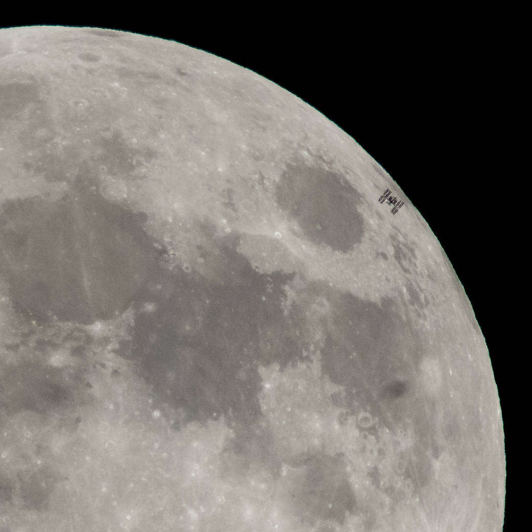 Space Station Transits the Full Moon