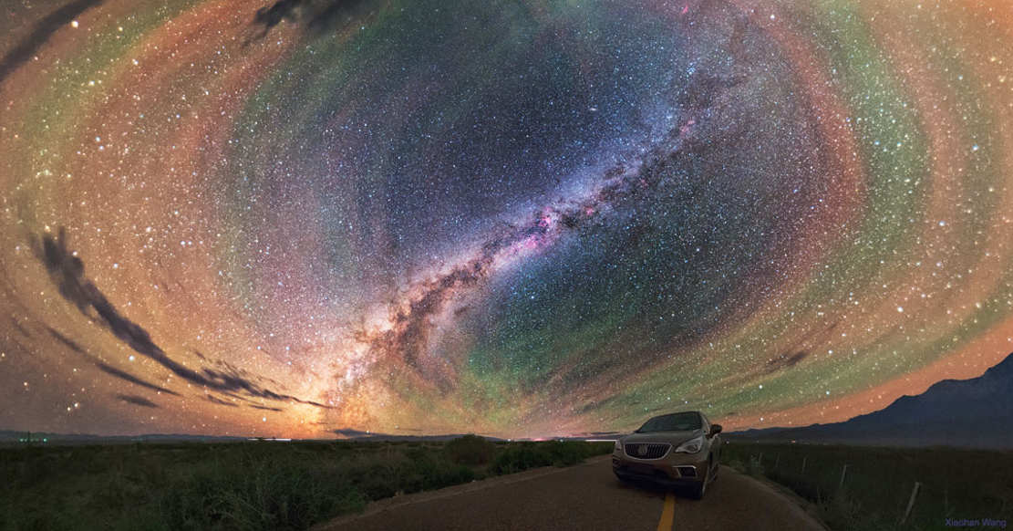 Airglow Bands Surround Milky Way