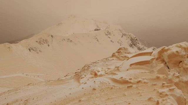 Orange Snow Covers European Peaks