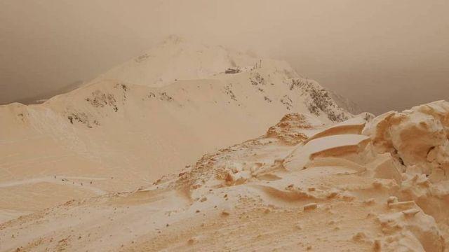 Orange Snow Covers European Peaks