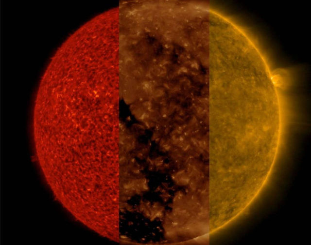 Three Different Wavelengths of our Sun
