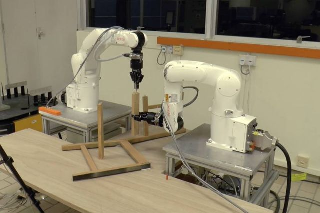 Two Robots assemble an Ikea Chair