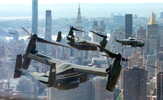 President's MV-22 Osprey escort over New York City