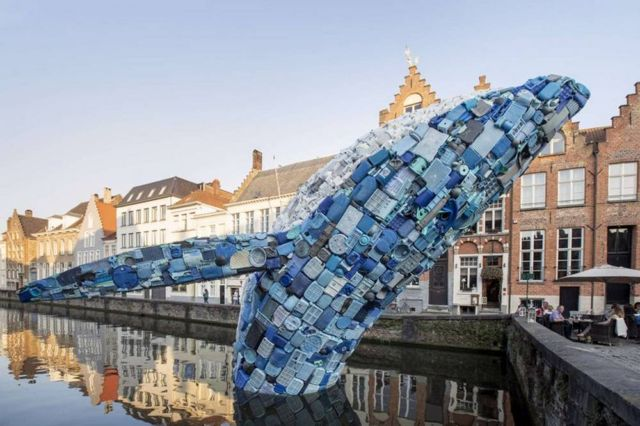 38-foot-tall Whale made of Plastic Waste