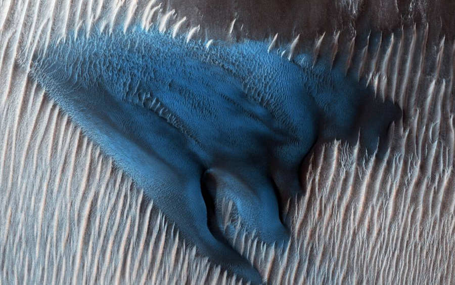 A Blue Dune on the Red Planet