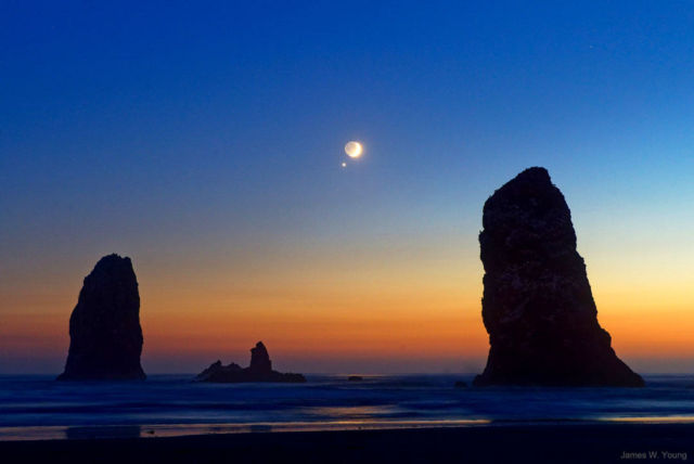 Moon and Venus over Cannon Beach