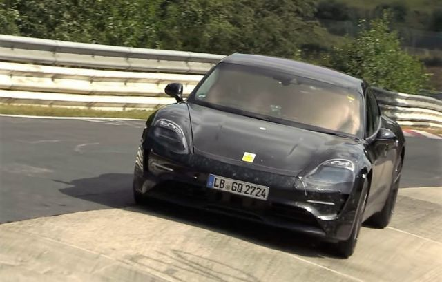Electric Porsche Taycan Testing on the Nurburgring