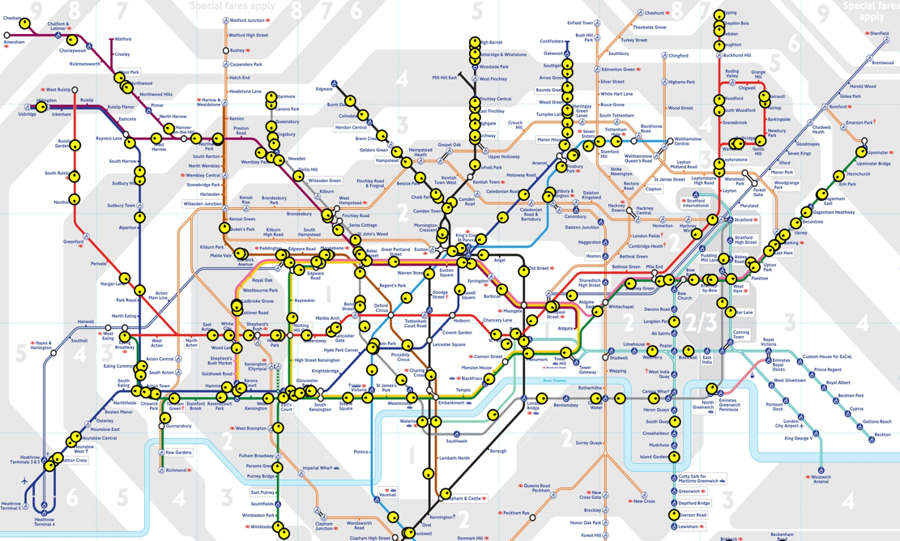 Interactive London Underground network Map