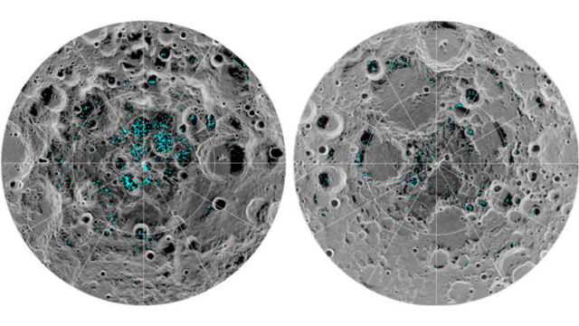 The presence of Ice at the Moon's Poles