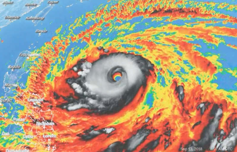 Super Typhoon Mangkhut striking Southeast Asia