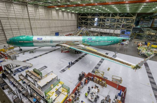The first fully assembled Boeing 777X Jetliner