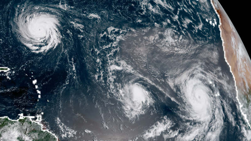 Three Hurricanes over Atlantic