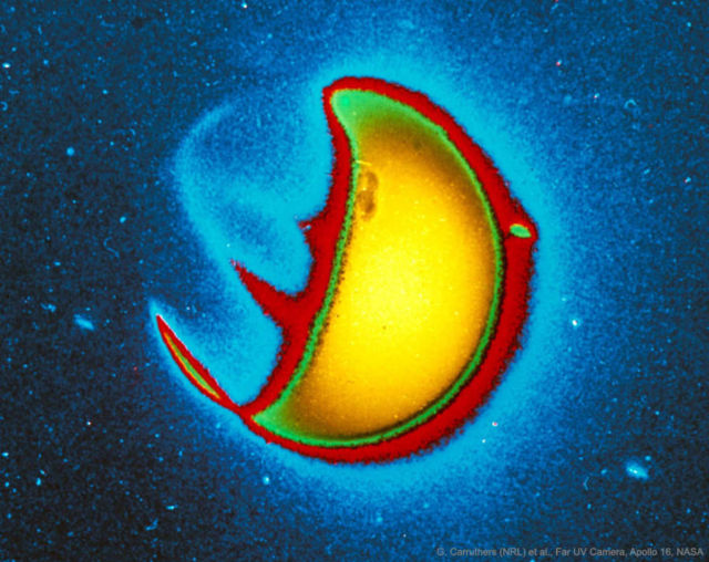Earth glowing in Ultraviolet (UV) Light- historic image