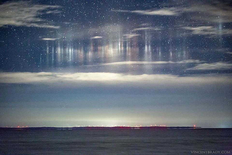 Light Pillars over Whitefish Bay