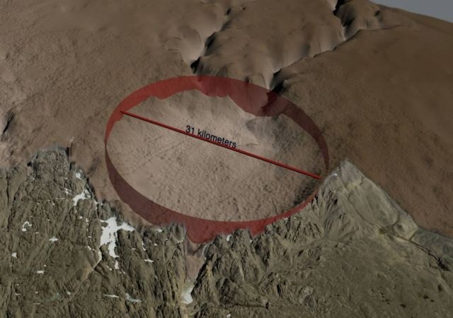 Huge Crater discovered beneath Ice Sheet in Greenland