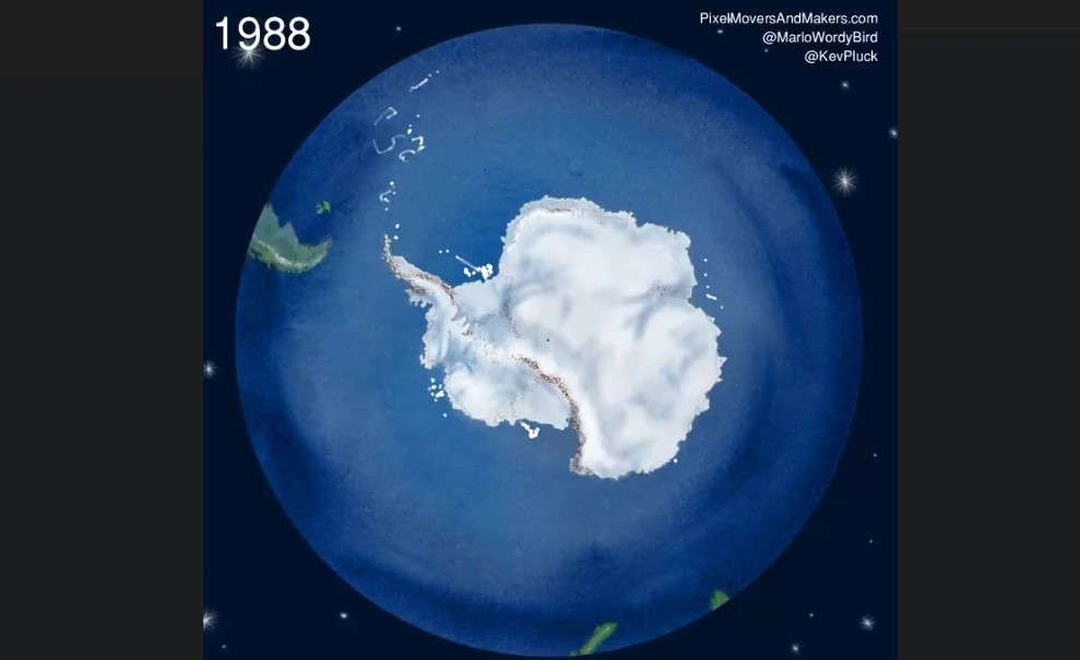 Watch 40 Years of Icebergs Break off Antarctica