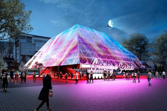 Holographic Pyramid for Summer Cinema pavilion