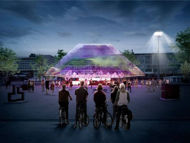 Holographic Pyramid for Summer Cinema pavilion (3)