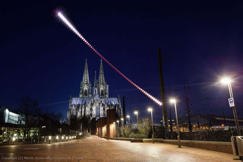 Lunar Eclipse over Cologne Cathedral