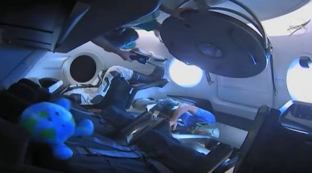 Astronauts enter Crew Dragon after Docking