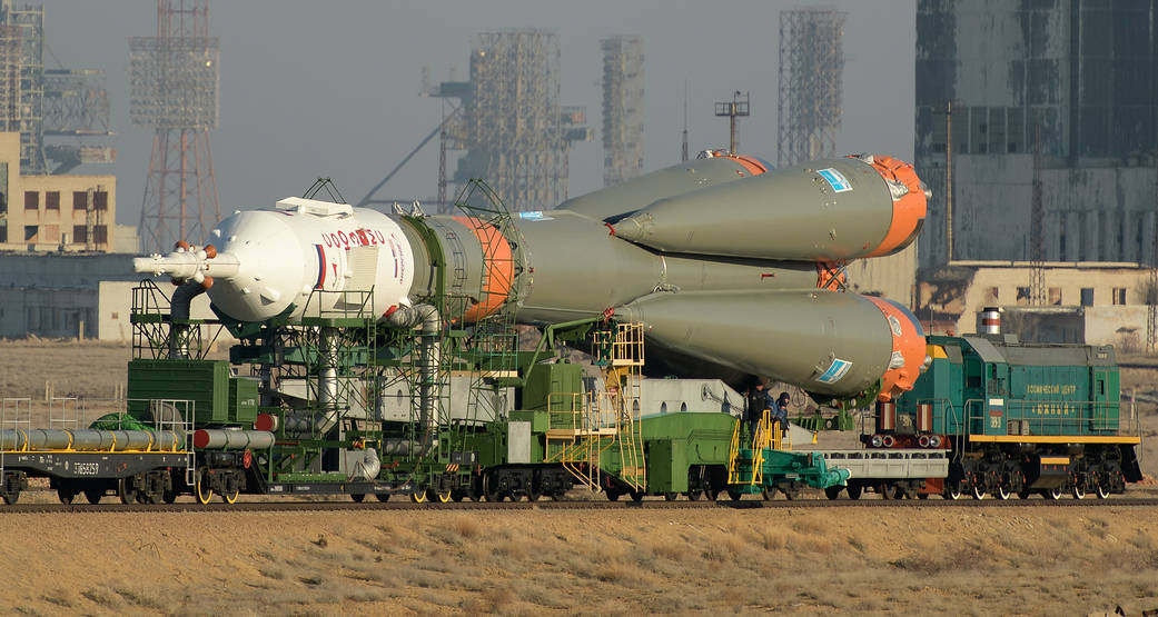 Soyuz Rocket rollout to the Launch Pad