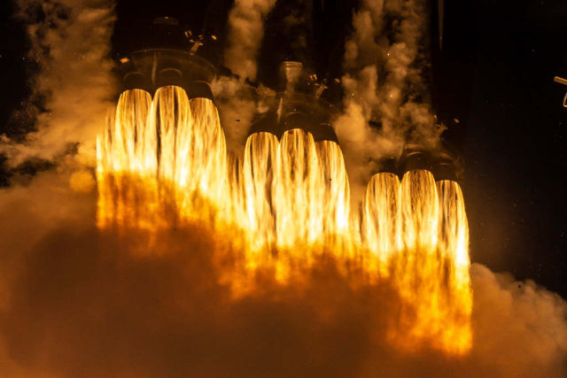 Twenty seven Merlin rocket engines