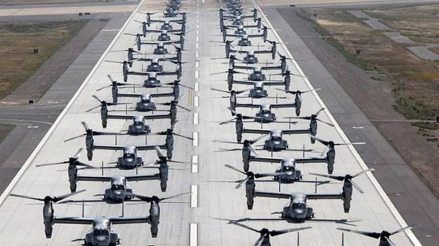 "41 helicopters in a massive ""Elephant Walk"" formation"